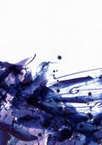 Большая абстрактная предпосылка акварели Яркие голубые и фиолетовые freehand пятна щетки, точки и пятна в твердой текстуре на зер стоковые фотографии rf