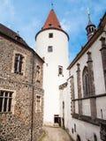 Большая башня замка Krivoklat в чехии Стоковые Изображения