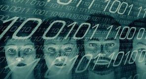 Большая безопасность кибер данных, бинарная предпосылка Стоковые Изображения