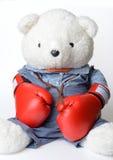 Большая белая носка плюшевого медвежонка перчатка бокса Стоковое фото RF