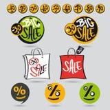 Большая бирка продажи установленная с рукописными сценариями Стоковые Изображения RF