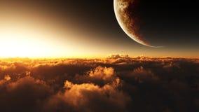 Большая возвышенность с планетой иллюстрация штока