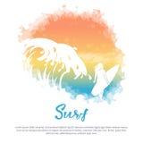 Большая волна, девушка с surfboard иллюстрация штока