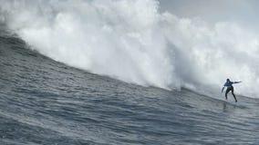 Большая волна занимаясь серфингом на состязании мэйвриков видеоматериал