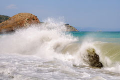 Большая волна моря Ландшафт Стоковое Изображение
