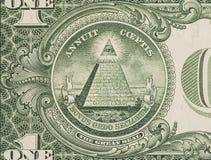 Большая государственная печать - макрос крупного плана долларовой банкноты США одного Стоковые Фотографии RF
