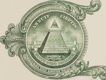 Большая государственная печать - макрос крупного плана долларовой банкноты США одного Стоковая Фотография RF
