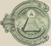 Большая государственная печать - макрос крупного плана долларовой банкноты США одного Стоковое Изображение