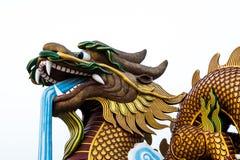 Большая голова статуи дракона на изолированной предпосылке, Supanburi, Таиланде Стоковая Фотография RF