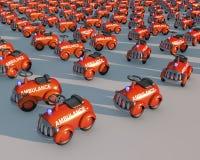 Большая группа в составе автомобили машины скорой помощи игрушки в освещении захода солнца иллюстрация штока
