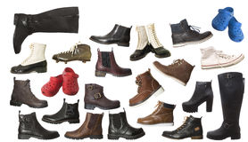 Большая группа в составе изолированные ботинки Стоковое Изображение RF