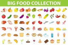 Большая еда значков комплекта, плоский стиль Плодоовощи, овощи, мясо, рыба, хлеб, молоко, помадки Значок еды на белизне