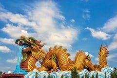 Большая золотая статуя дракона на предпосылке неба Стоковые Изображения RF