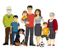 Большая и счастливая иллюстрация вектора семьи иллюстрация вектора