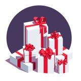 Большая куча обернутых белых подарочных коробок Стоковое Изображение