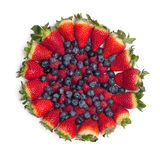Большая куча свежих ягод изолированных на белой предпосылке Взгляд сверху Стоковое Изображение