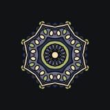 Большая мандала цветка на синей предпосылке Бутон калейдоскопа большой Стоковые Фотографии RF