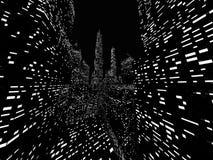 Большая представленная сцена ночи города Стоковая Фотография