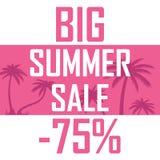 Большая продажа лета, ладони на розовой предпосылке с скидкой семьдесят пять процентов Дешево, надувательство, предложение бесплатная иллюстрация