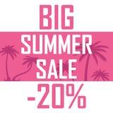 Большая продажа лета, ладони на розовой предпосылке с скидкой 20 процентов Дешево, надувательство, предложение иллюстрация штока