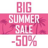 Большая продажа лета, ладони на розовой предпосылке с скидкой 50 процентов Дешево, надувательство, предложение иллюстрация вектора