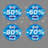 Большая продажа зимы, большое знамя специального предложения продажи, иллюстрация Стоковое Изображение