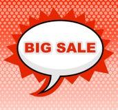 Большая продажа значит сообщение дешево и знак бесплатная иллюстрация