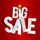 Большая продажа на красной предпосылке Стоковое фото RF