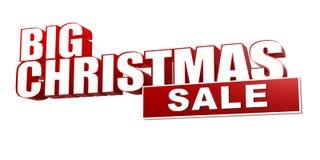 Большая продажа рождества в красных письмах 3d и блоке Стоковое фото RF