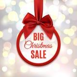Большая продажа рождества, круглое знамя с красной лентой Стоковые Фотографии RF