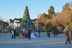 Большая рождественская елка в Баку Стоковые Фото