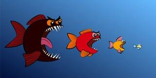 Большая рыба ест более малую сеть предприятий общественного питания рыб иллюстрация вектора