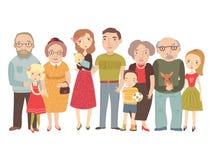 Большая семья, мама, папа, дети, деды иллюстрация штока