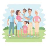 Большая семья совместно в парке Иллюстрация вектора с плоским дизайном стиля Стоковое Изображение