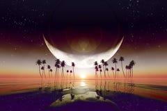 Большая луна над красным заходом солнца Стоковое Изображение RF