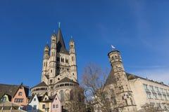 Большая церковь St Martin в Кёльне, Германии Стоковое Фото