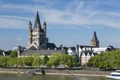 Большая церковь St Martin в Кёльне, Германии Стоковые Изображения RF