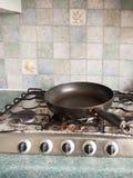 Большая черная круглая круговая сковорода без любой еды на к Стоковые Фотографии RF