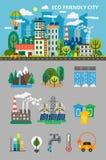 Большая экологичность установленная для graphis информации Ландшафт с концепцией экологичности Ecofriendly город с зданиями, пере Стоковое Фото