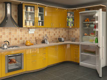 Большая яркая кухня с холодильником, Стоковое Изображение