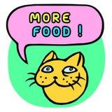 Больше еды! Голова кота шаржа речи персоны пузыря вектор графической говоря также вектор иллюстрации притяжки corel Стоковые Изображения RF