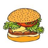 Большие бургер, гамбургер или Cheeseburger белизна изолированная предпосылкой Реалистической вектор нарисованный рукой эскиза сти иллюстрация вектора