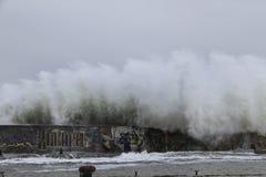 Большие волны разбивая на волнорезе Стоковая Фотография