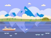 большие горы горы ландшафта Иллюстрация вектора в квартире Стоковая Фотография