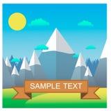 большие горы горы ландшафта Плоская иллюстрация вектора дизайна Достижение цели Стоковое Изображение
