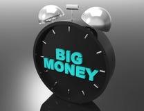 Большие деньги и часы иллюстрация вектора