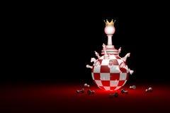 большие изменения Новый правитель Метафора шахмат общества элиты 3D r иллюстрация штока