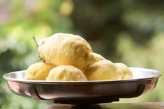 Большие лимоны от Амальфи в старом балансе Стоковое Фото