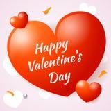 Большие и малые сердца с днем валентинки надписи счастливым Стоковое Фото