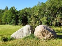 Большие камни на траве Стоковые Фото